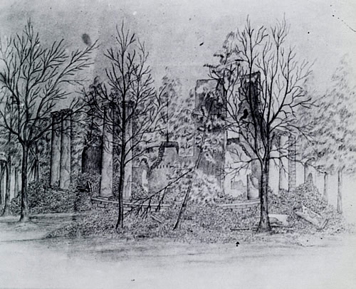 The Rotunda ruins were sketched in 1866 by Eugene Allen Smith, former cadet and instructor of tactics. (Courtesy W.S. Hoole Special Collections Library, University of Alabama.)
