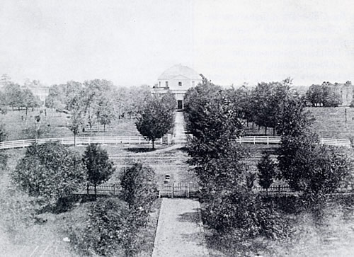 The Rotunda of the University of Alabama, designed by William Nichols, was completed in 1831. Seventy feet in diameter and seventy feet in height, the structure formed the nucleus of the original campus. The only known photograph of the Rotunda was taken about 1859. (Courtesy W.S. Hoole Special Collections Library, University of Alabama.)